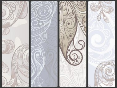 vector abstract floral banners with flowers and butterflies, pl