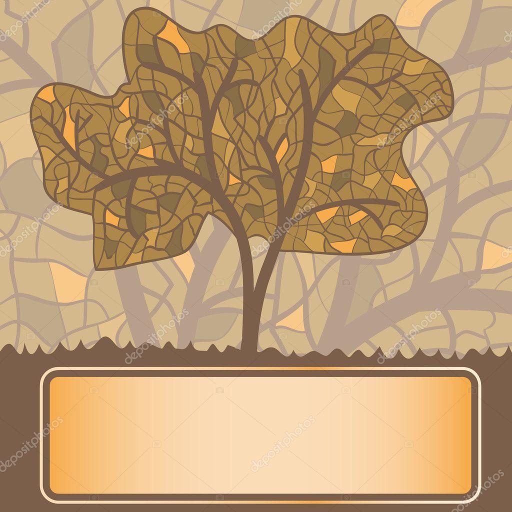 Vector vidrieras estilizado árbol otoñal con marco para tu te ...