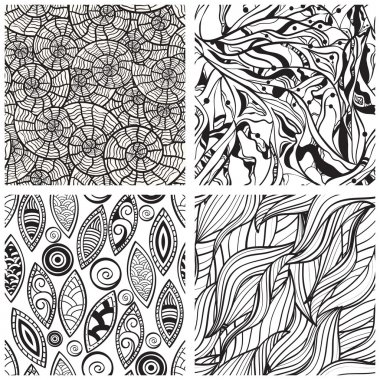 Vector seamless abstract hand drawn monochrome patterns