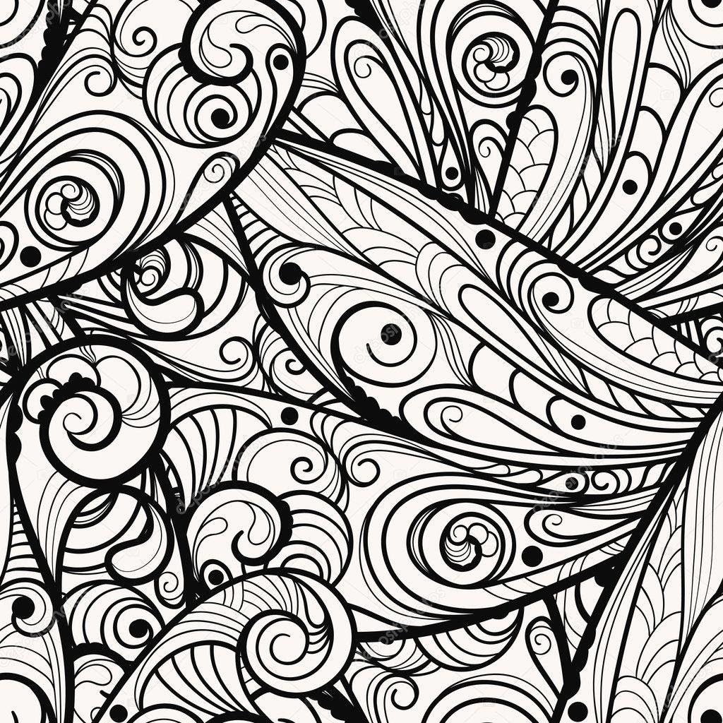Vector seamless beautiful monochrome pattern