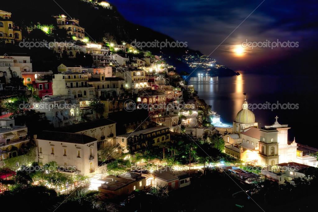 Full moon over Positano, Italy, HDR