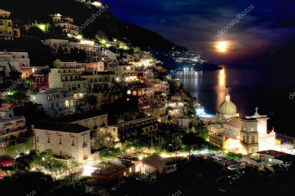 Full moon over Positano, Italy, HDR