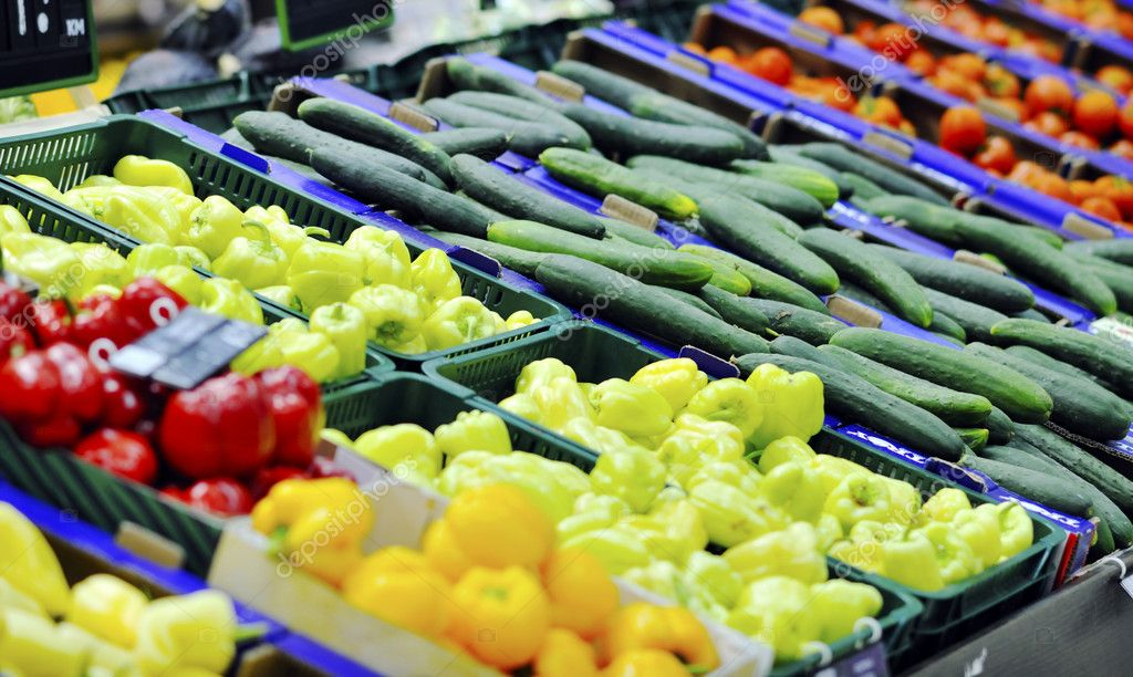 Fresh fruits and vegetables in supe market