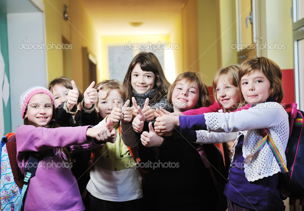Happy children group in school