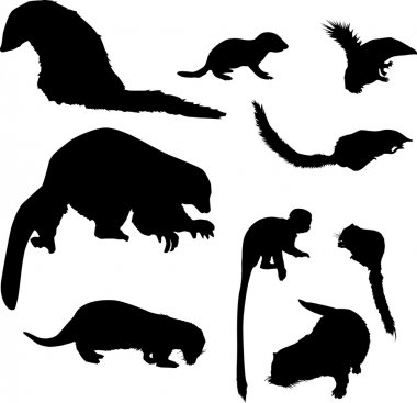 small animal silhouettes collection