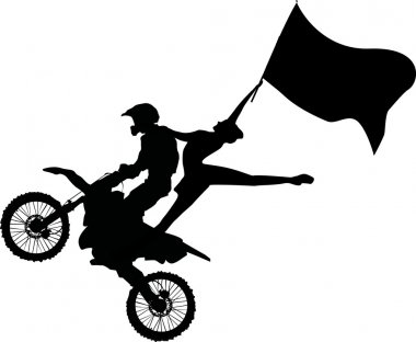motorcyclist and woman with flag