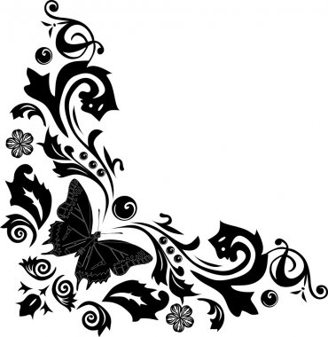 black butterfly corner decoration