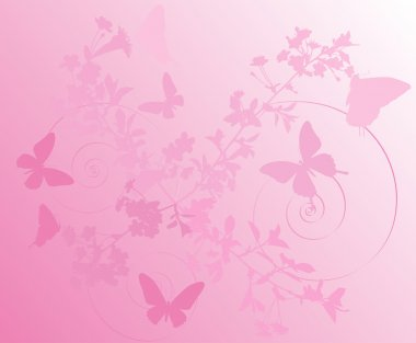 Illustration with cherry tree flowers and butterflies silhouette on pink background clip art vector