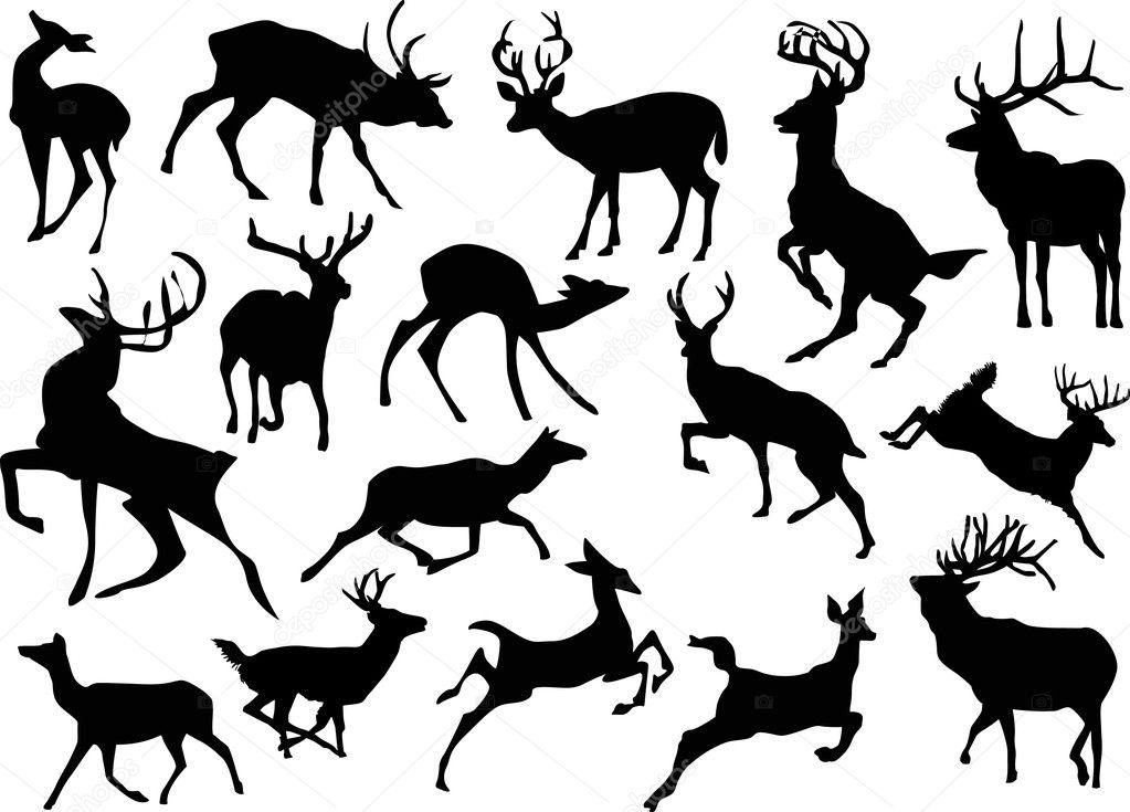 depositphotos stock illustration running deer silhouettes