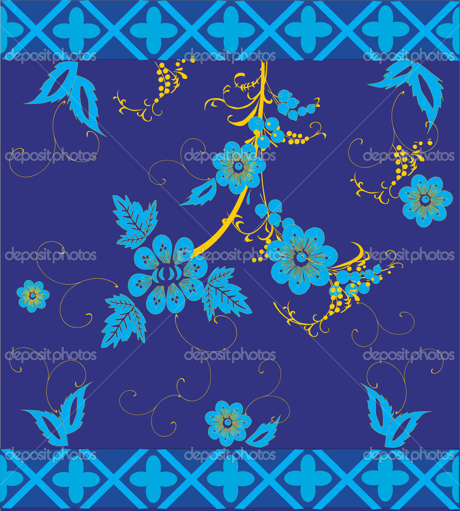 Blue And Gold Flowers On Stock Vector