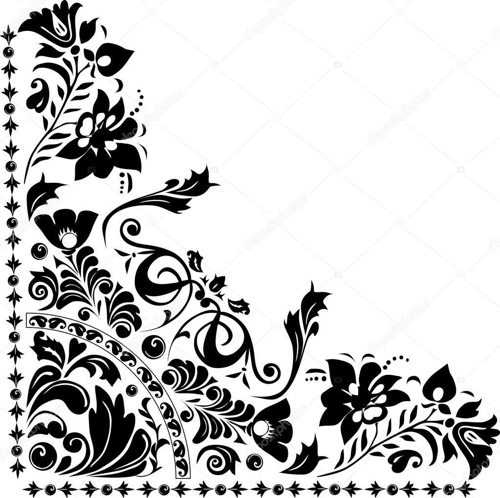 Stock Vector Dr Pas 6261329: Silhouette Of Corner Flower Design