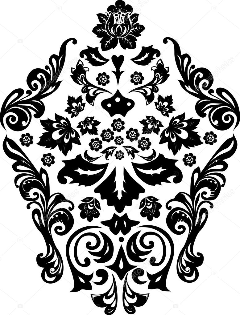 Black symmetric design with flower  Stock Vector #6261512