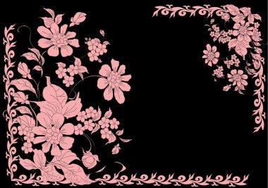 two corner flower pink frame