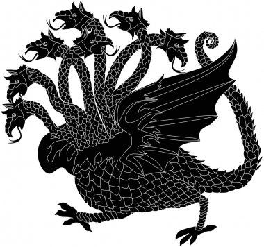 black dragon with seven heads
