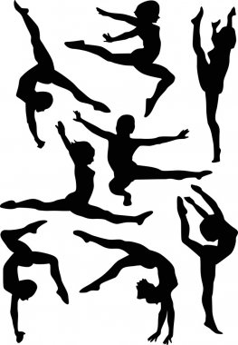 gymnasts on white