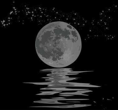 full moon, stars and its reflection