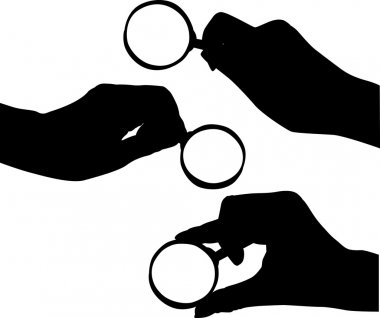 hand and magnifying silhouettes