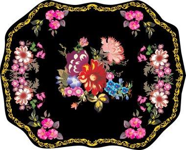 pink on black flowers in gold frame