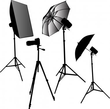 photo studio equipment isolated on white
