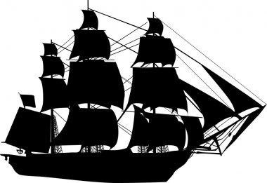 black ship on white