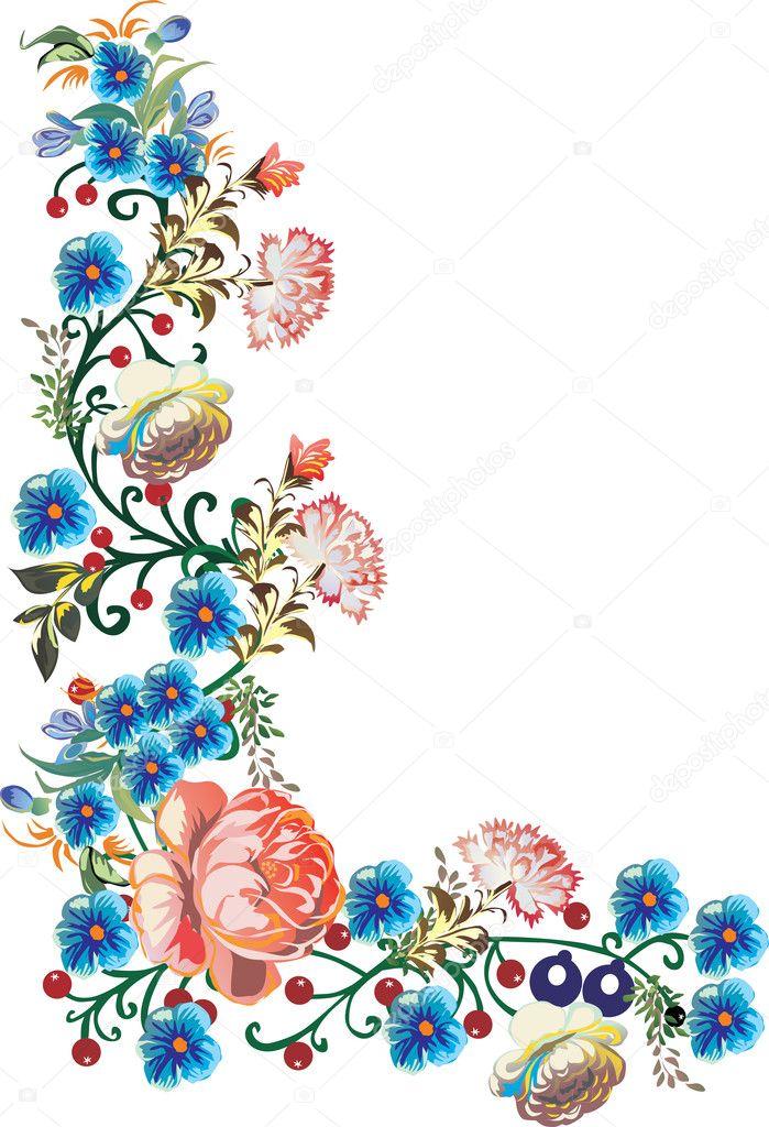 blue flowers corner illustration