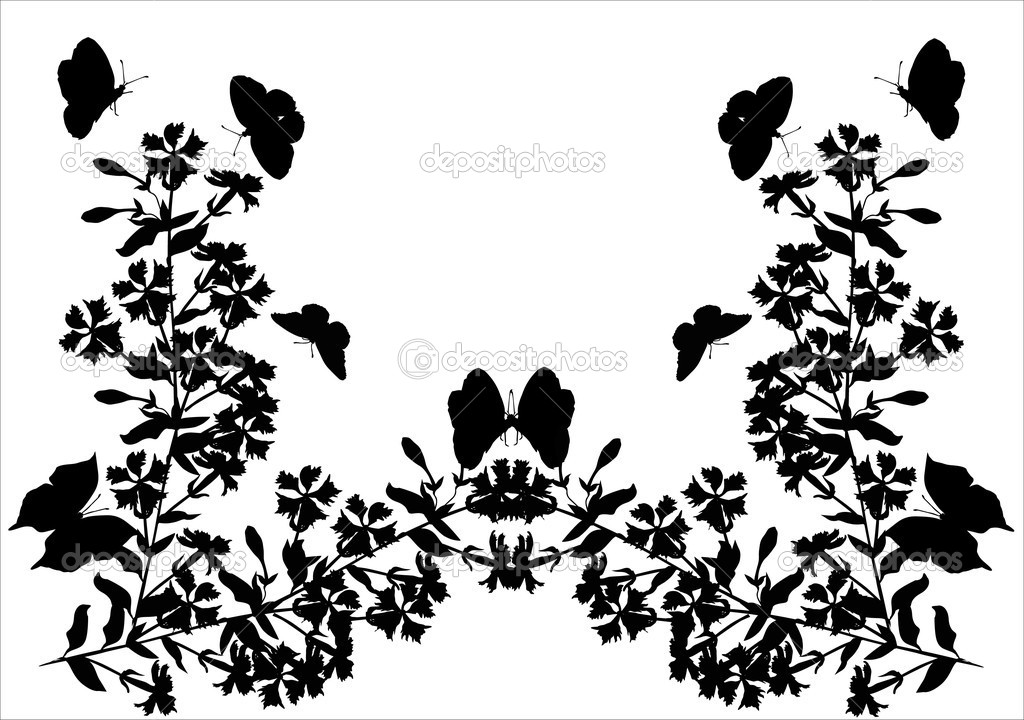 Symmetric design with flowers and butterflies  Stock Vector #6327880