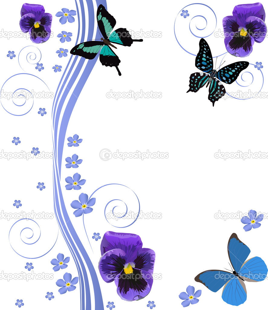 Stock Vector Dr Pas 6261329: Blue Flowers, Butterflies And Curls