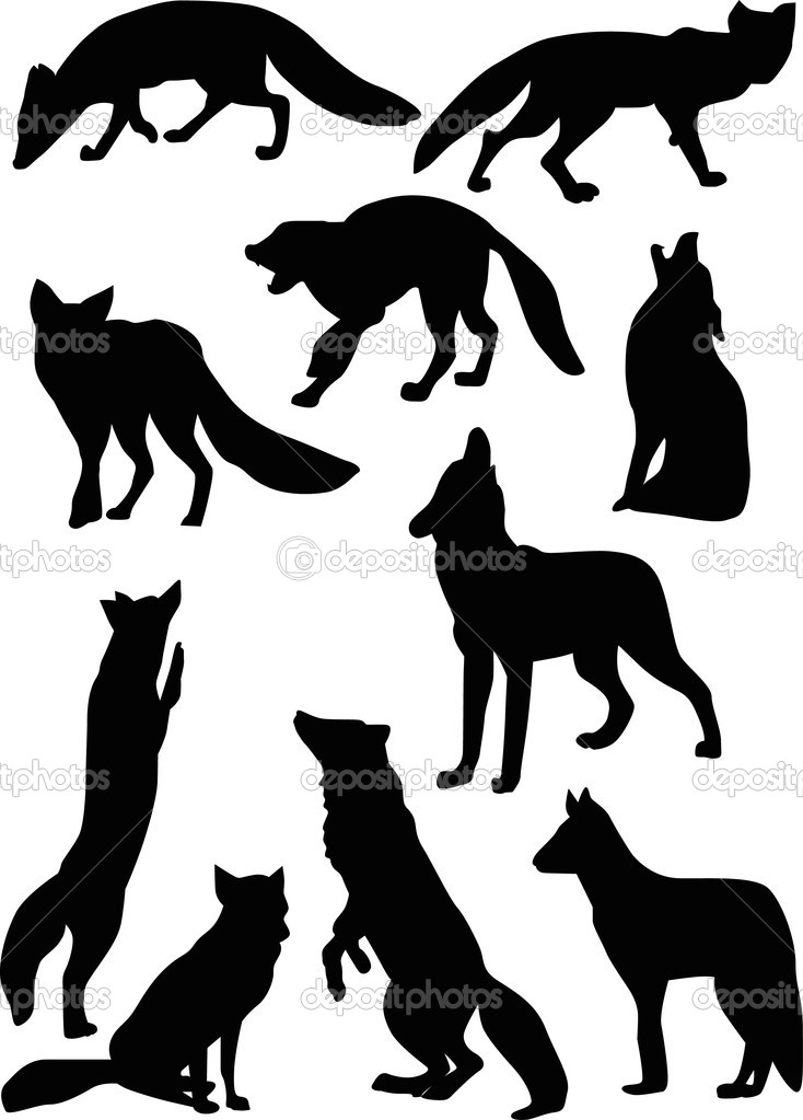 fox and wolf silhouettes stock vector 6327963