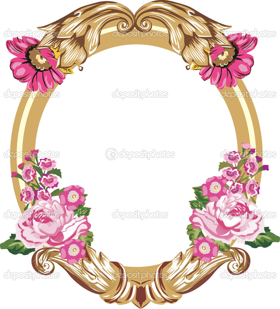 Gold frame and pink flowers on white stock vector drs 6327983 gold frame and pink flowers on white stock vector mightylinksfo