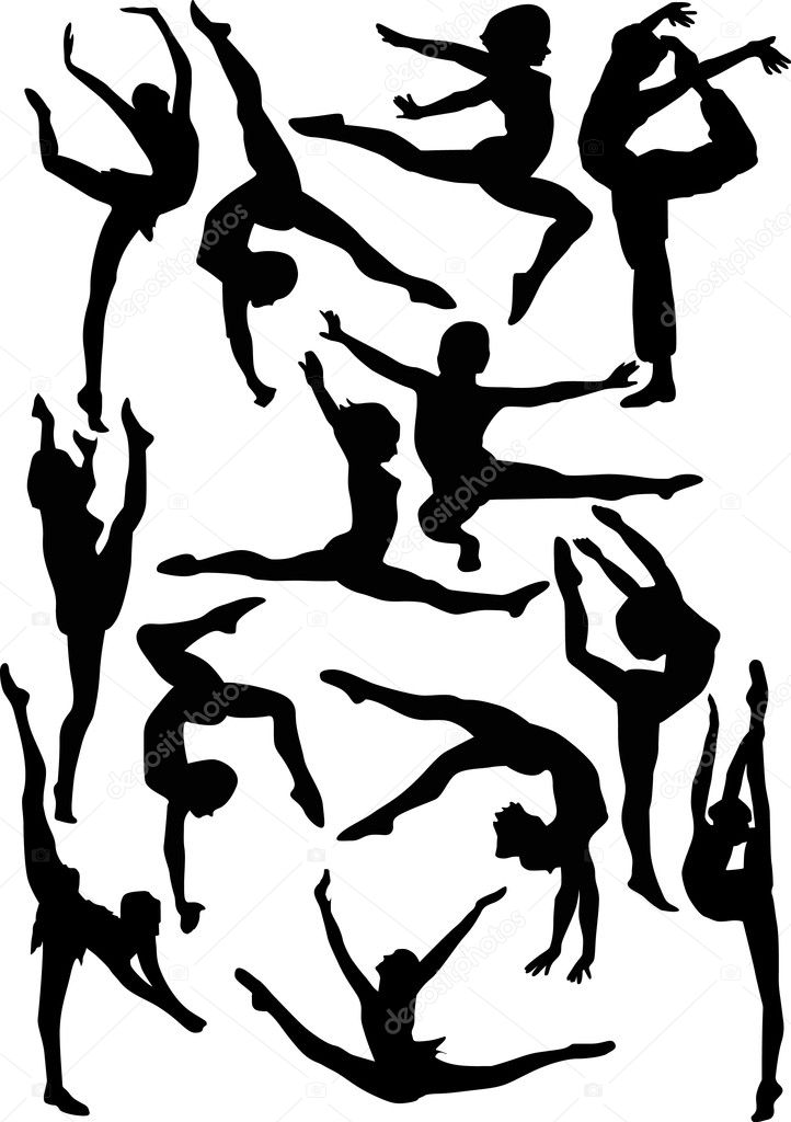 set of gymnast silhouettes stock vector 6328178