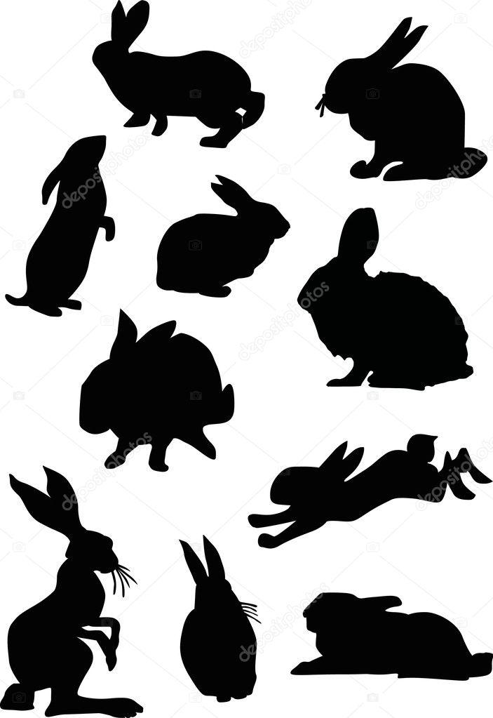 Rabbit Silhouette Set Stock Vector 169 Dr Pas 6328244