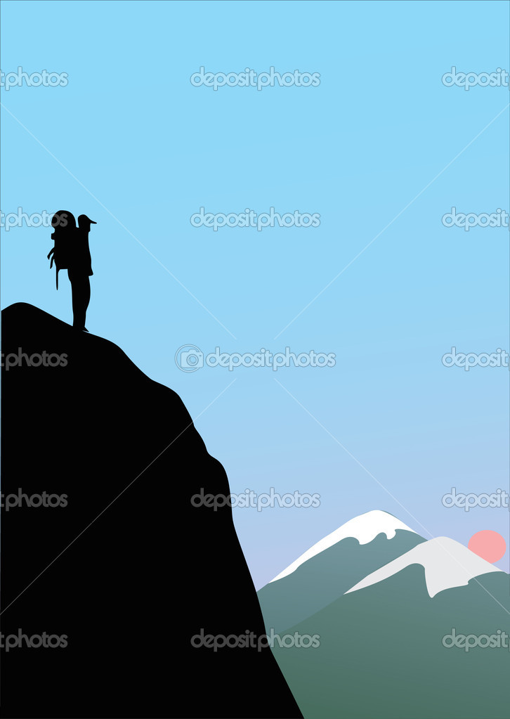 single rock climber in mountains