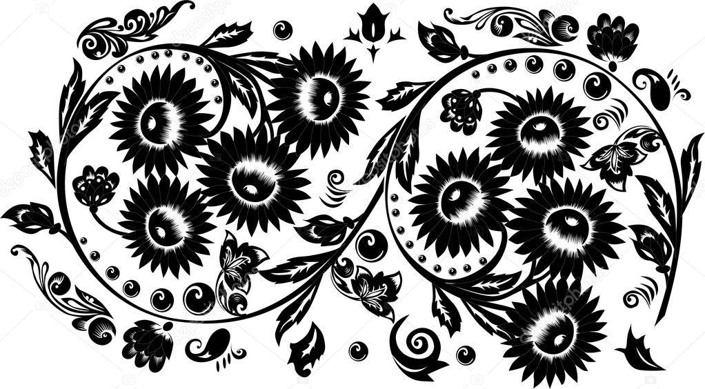 Line Art Flower Design : Eight black big flowers design u stock vector dr pas