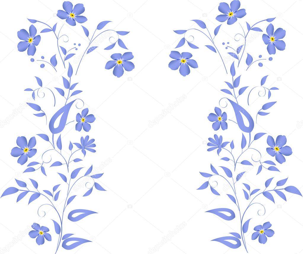 Simple blue flowers design stock vector dr pas 6328712 for Illustration minimaliste