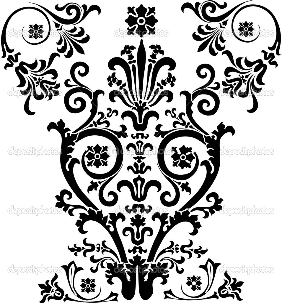 Design with symmetric black curls Stock Illustration