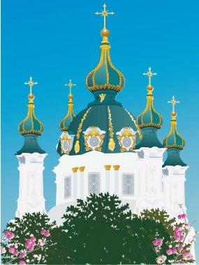orthodox church and blue sky illustration