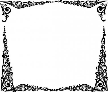 black simple frame isolated on white