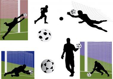 set of goalkeeper silhouettes