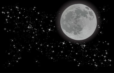 full moon on sky with stars
