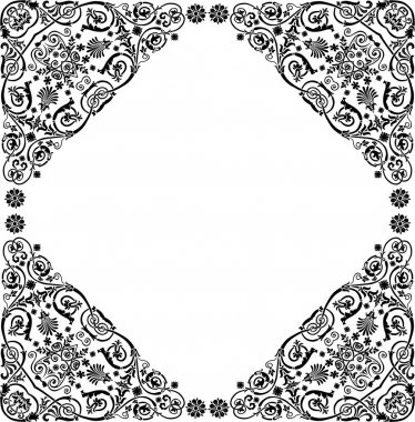 curled design with four corner frame