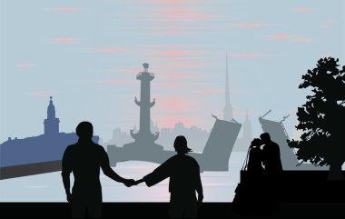 Illustration with city Saint Petersburg landscape clip art vector