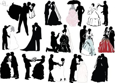 Wedding couple silhouette set