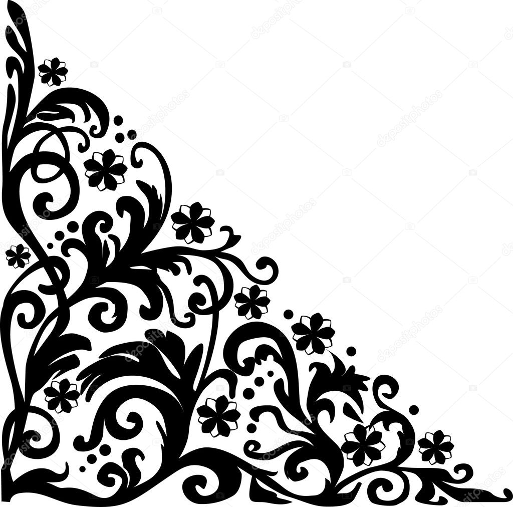 Black simple curled corner ornament stock vector dr for Illustration minimaliste