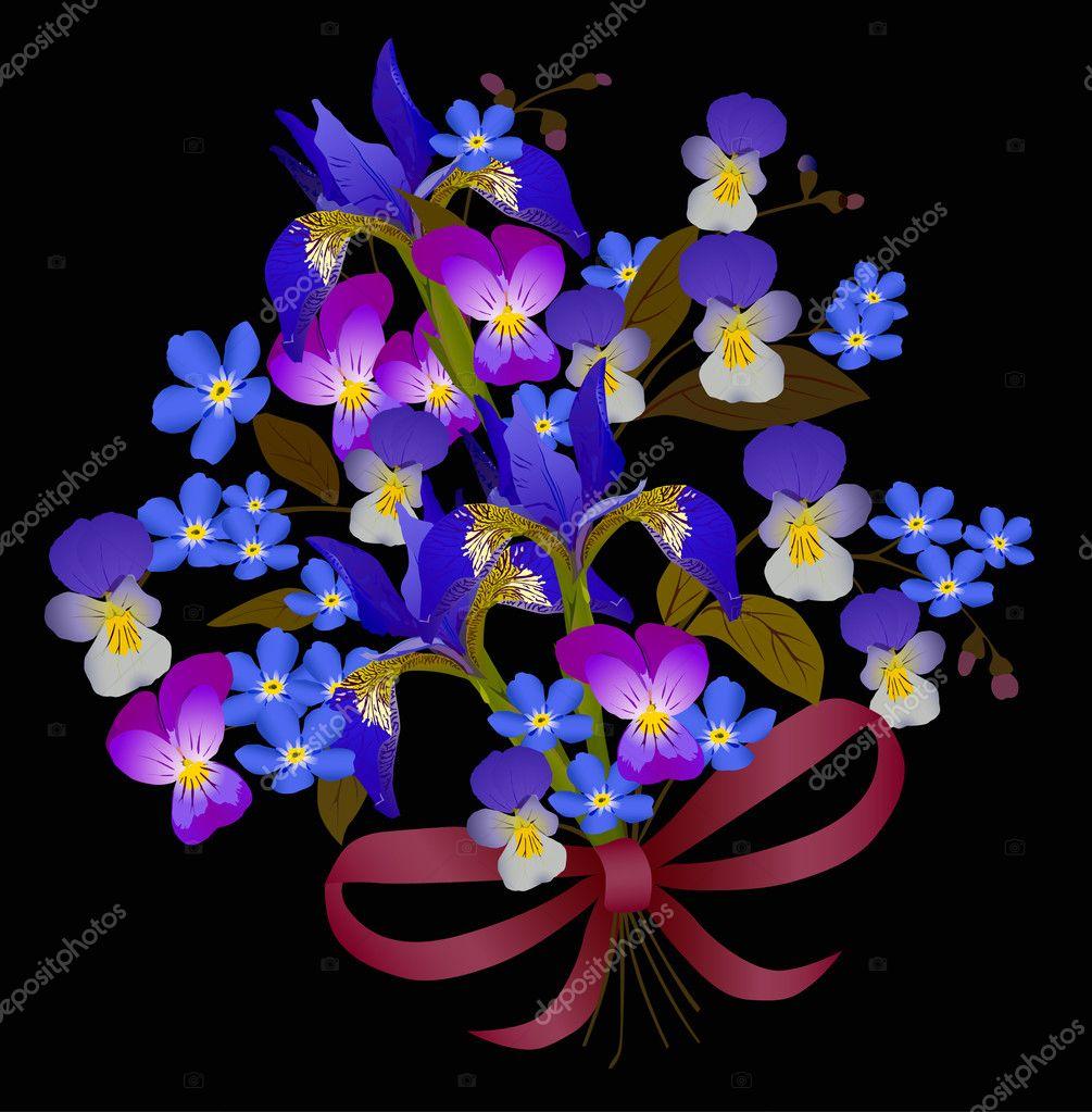 Illustrazione Fiore Con Nero Bouquet Di Fiori Blu Su Sfondo Nero