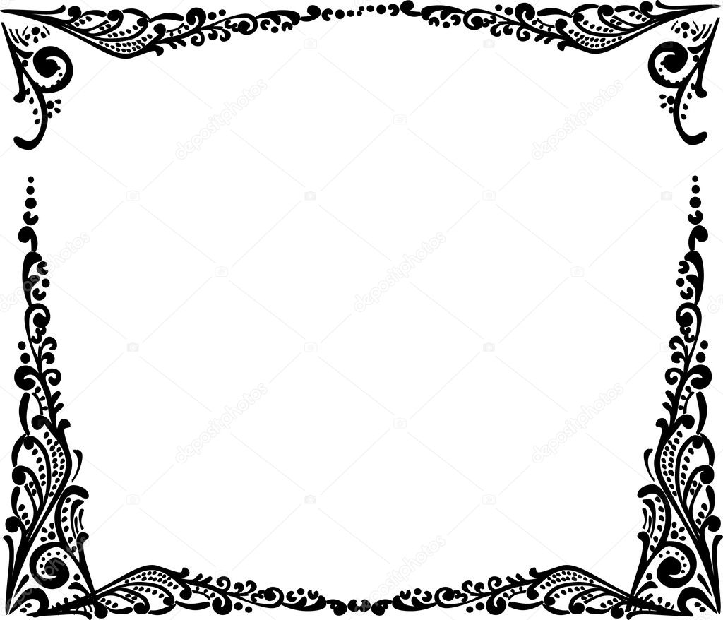 Stock Vector Dr Pas 6261329: Black Simple Frame Isolated On White