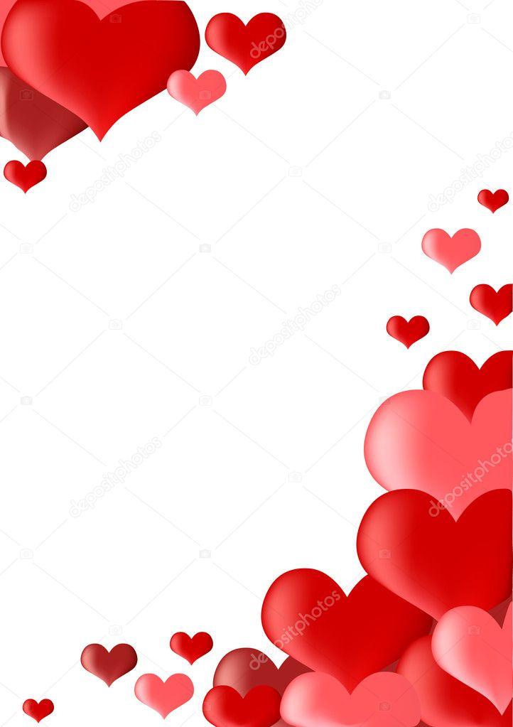 Marco de corazones rojos aislado en blanco vector de - Marcos de corazones para fotos ...