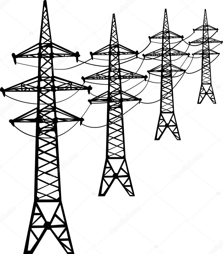 Stock Vector Dr Pas 6261329: Isolated Black High-voltage Line
