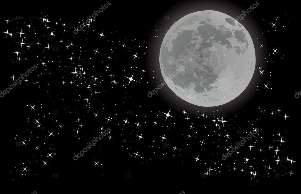 full moon on sky with stars