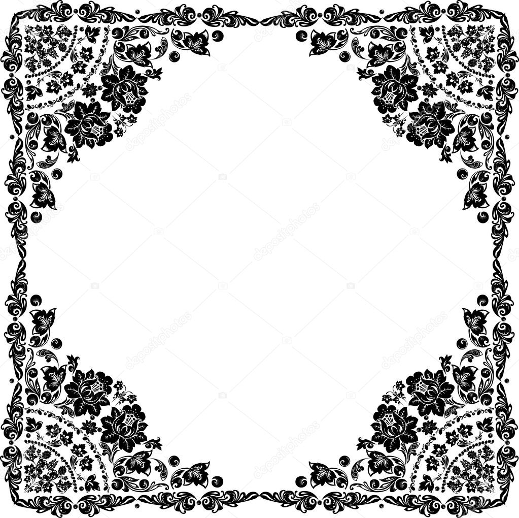 Stock Vector Dr Pas 6261329: Conventionalized Black Rose Frame