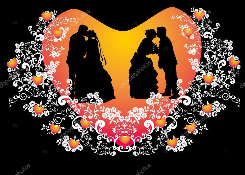 boda Silueta de parejas en el marco de la forma de corazón rojo ...